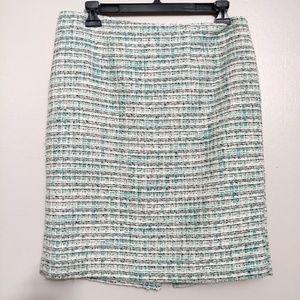 Kenar Tweed Pencil Blue & Black Midi Skirt Size 6